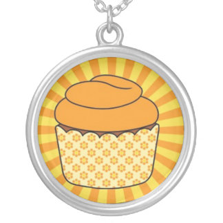 Bright Yellow and Orange Cupcake on Starburst Silver Plated Necklace