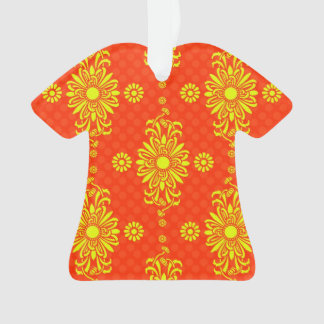 Bright Yellow and Orange Floral Design Ornament