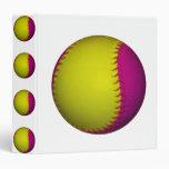 Bright Yellow and Pink Softball 3 Ring Binder