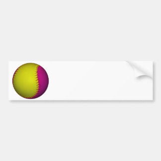Bright Yellow and Pink Softball Bumper Stickers