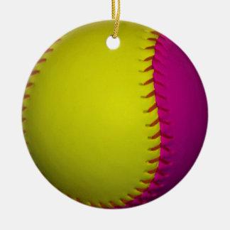 Bright Yellow and Pink Softball Ceramic Ornament