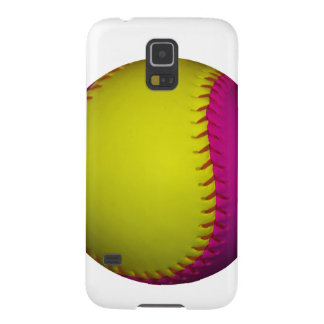 Bright Yellow and Pink Softball Galaxy S5 Case