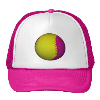 Bright Yellow and Pink Softball Mesh Hats