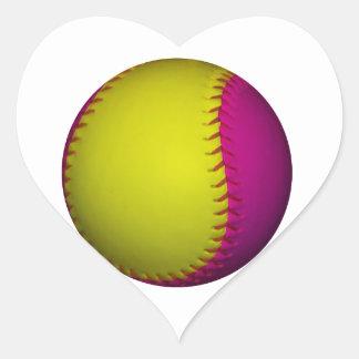 Bright Yellow and Pink Softball Heart Sticker