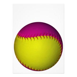 Bright Yellow and Pink Softball Custom Invitation