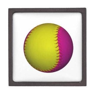 Bright Yellow and Pink Softball Keepsake Box