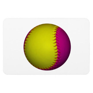 Bright Yellow and Pink Softball Magnet