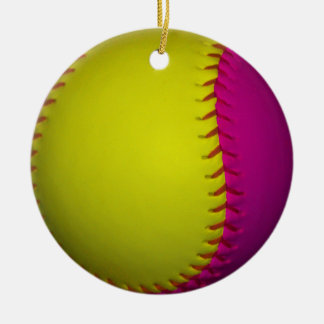 Bright Yellow and Pink Softball Christmas Ornaments