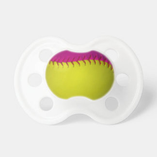 Bright Yellow and Pink Softball Baby Pacifiers