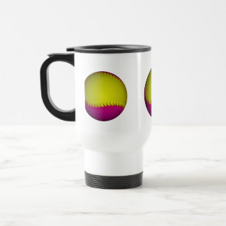 Bright Yellow and Pink Softball Travel Mug