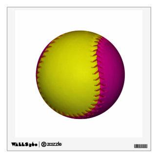 Bright Yellow and Pink Softball Wall Sticker