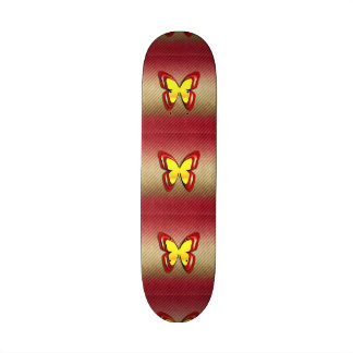 Bright Yellow and Red Butterfly Skate Board Deck