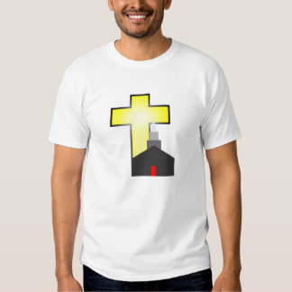 bright yellow and white cross small church t-shirt
