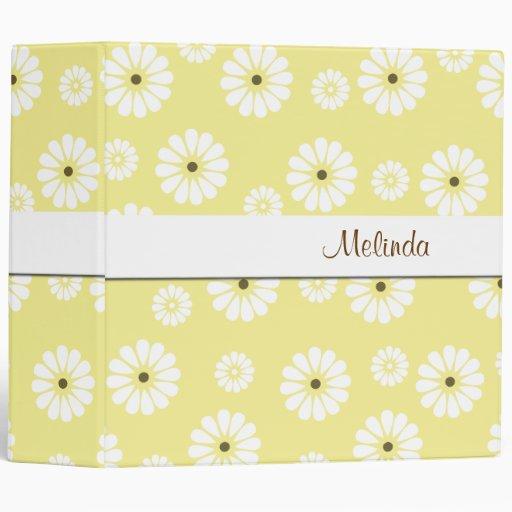 Bright Yellow and White Daisy Binder