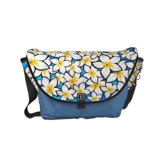 Bright yellow and white frangipani art small messenger bag