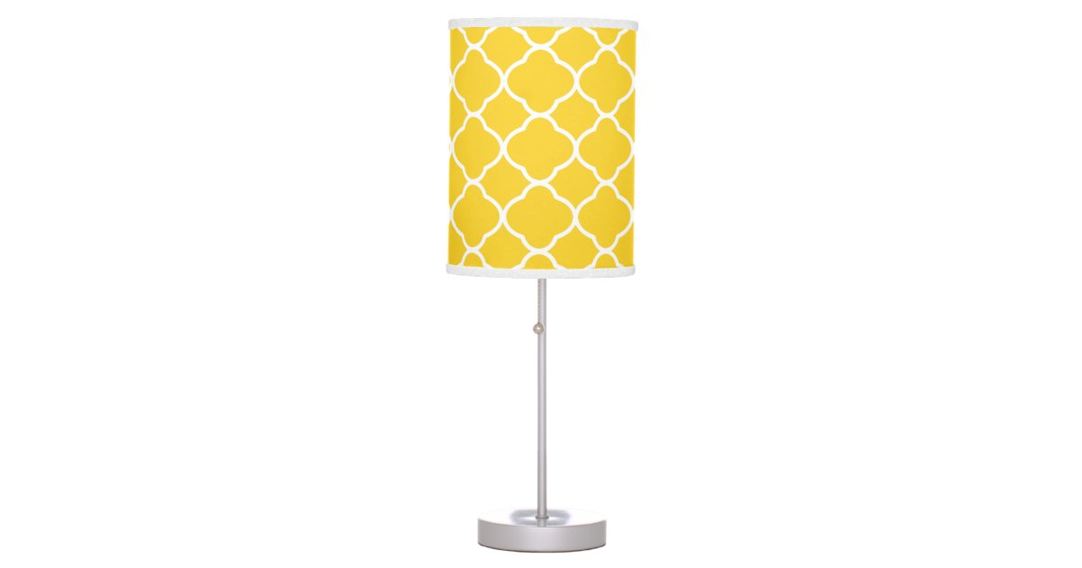 Bright yellow and white quatrefoil pattern table lamp zazzle aloadofball Images