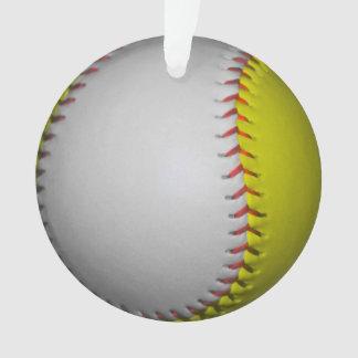 Bright Yellow and White Softball Ornament
