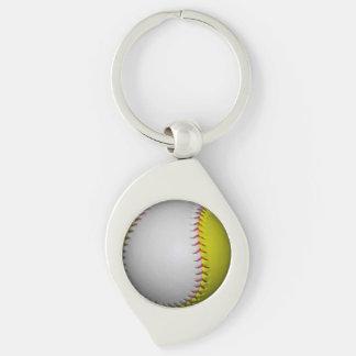 Bright Yellow and White Softball Key Chains