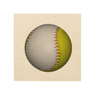 Bright Yellow and White Softball Wood Canvases