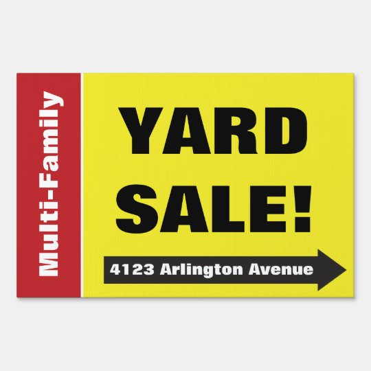 Bright Yellow Arrow Garage Rummage Sale Yard Sign