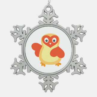 Bright Yellow Baby Chick Snowflake Pewter Christmas Ornament