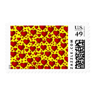 BRIGHT YELLOW BACKGROUND RED BUBBLY HEARTS TEMPLAT POSTAGE STAMP