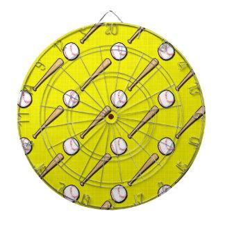 Bright Yellow Baseball Pattern Dart Boards