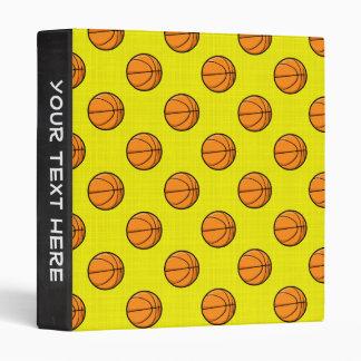 Bright Yellow Basketball Pattern 3 Ring Binder