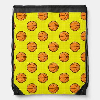 Bright Yellow Basketball Pattern Drawstring Bag