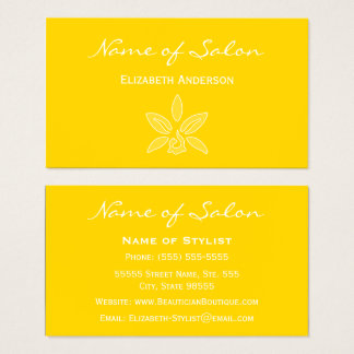 Bright Yellow Beauty Salon Simple and Chic Business Card