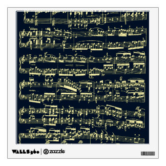 Bright yellow Beethoven sheet music on blue Wall Sticker
