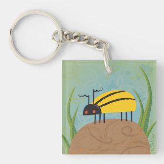 Bright Yellow Beetle Keychain