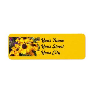 Bright yellow Black-Eyed Susan Label