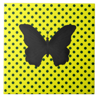 Bright Yellow Black Polka Dots Butterfly Ceramic Tile