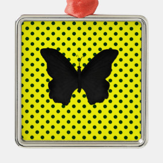 Bright Yellow Black Polka Dots Butterfly Metal Ornament