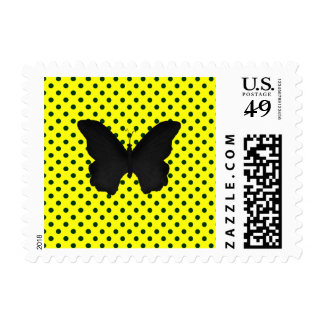 Bright Yellow Black Polka Dots Butterfly Postage