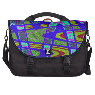bright yellow blue abstract laptop messenger bag