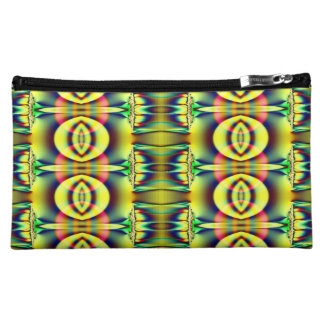 Bright Yellow Blue Fractal Abstract Cosmetic Bag