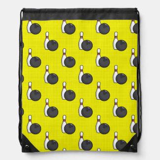 Bright Yellow Bowling Ball Pattern Drawstring Bag