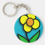 Bright Yellow Buttercup Graphic Basic Round Button Keychain