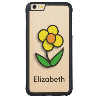Bright Yellow Buttercup Graphic Carved® Maple iPhone 6 Plus Bumper Case