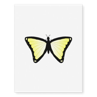 Bright yellow butterfly temporary tattoo