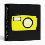 Bright Yellow Camera. On Black. Binders