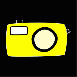 Bright Yellow Camera. On Black. Photo Sculpture Magnet