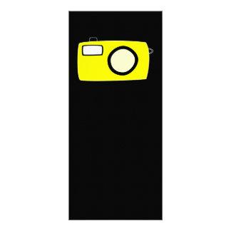 Bright Yellow Camera. On Black. Custom Rack Card