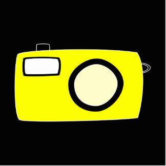 Bright Yellow Camera. On Black. Standing Photo Sculpture