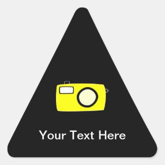 Bright Yellow Camera. On Black. Triangle Sticker
