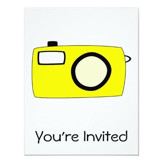 Bright Yellow Camera. On White. Card