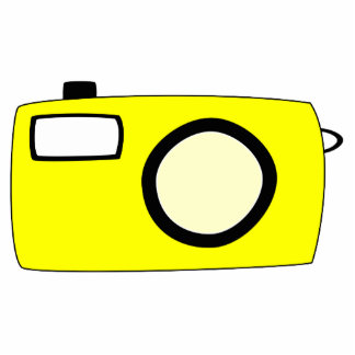 Bright Yellow Camera. On White. Standing Photo Sculpture