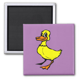 Bright yellow cartoon duckling magnet
